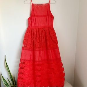 Red dress with spaghetti straps